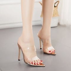 Rose Gold Duo Perspex Mule Heels