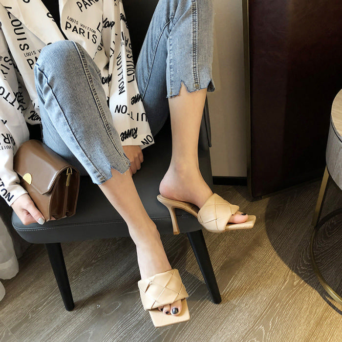 Woven Squared Mules