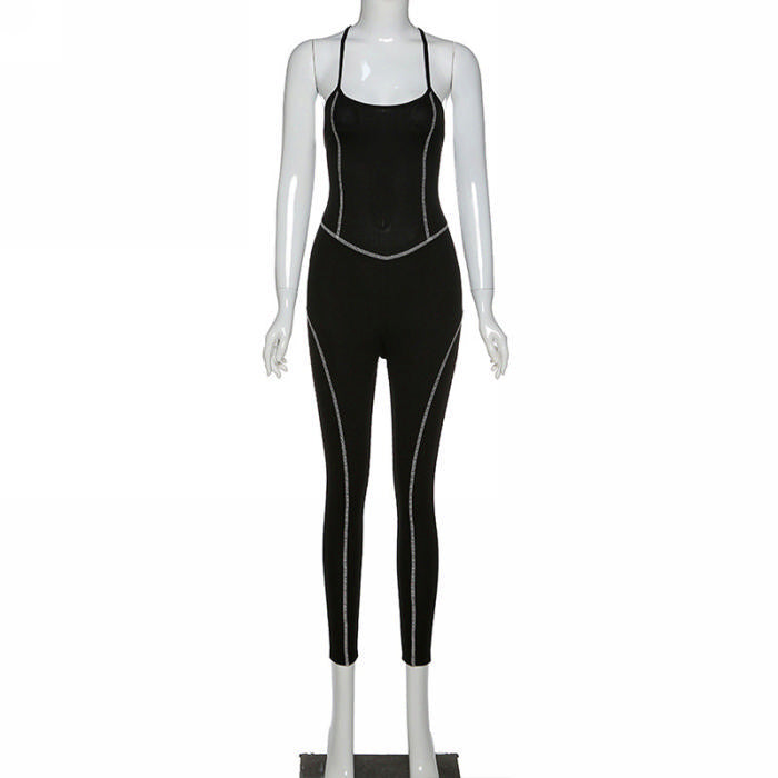 Lala Lined Workout Jumpsuit