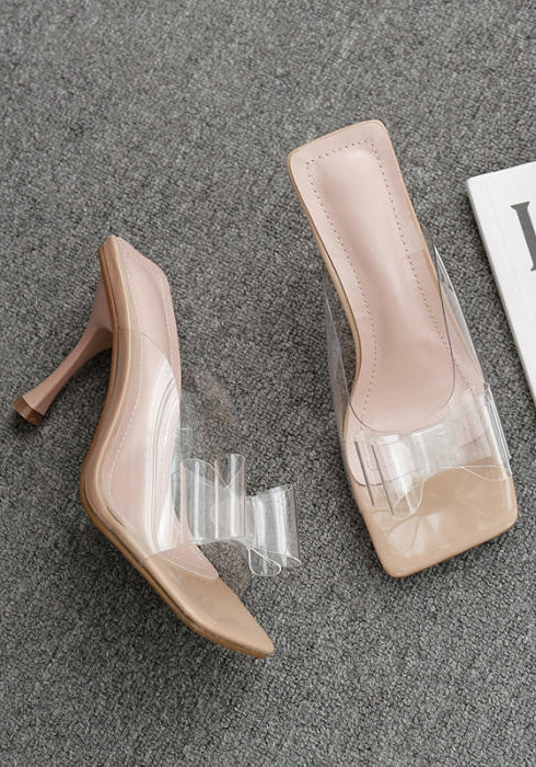 Clear Bow Square Heels