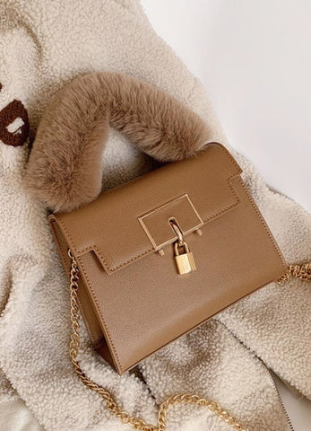 Fur Handle Satchel Handbag