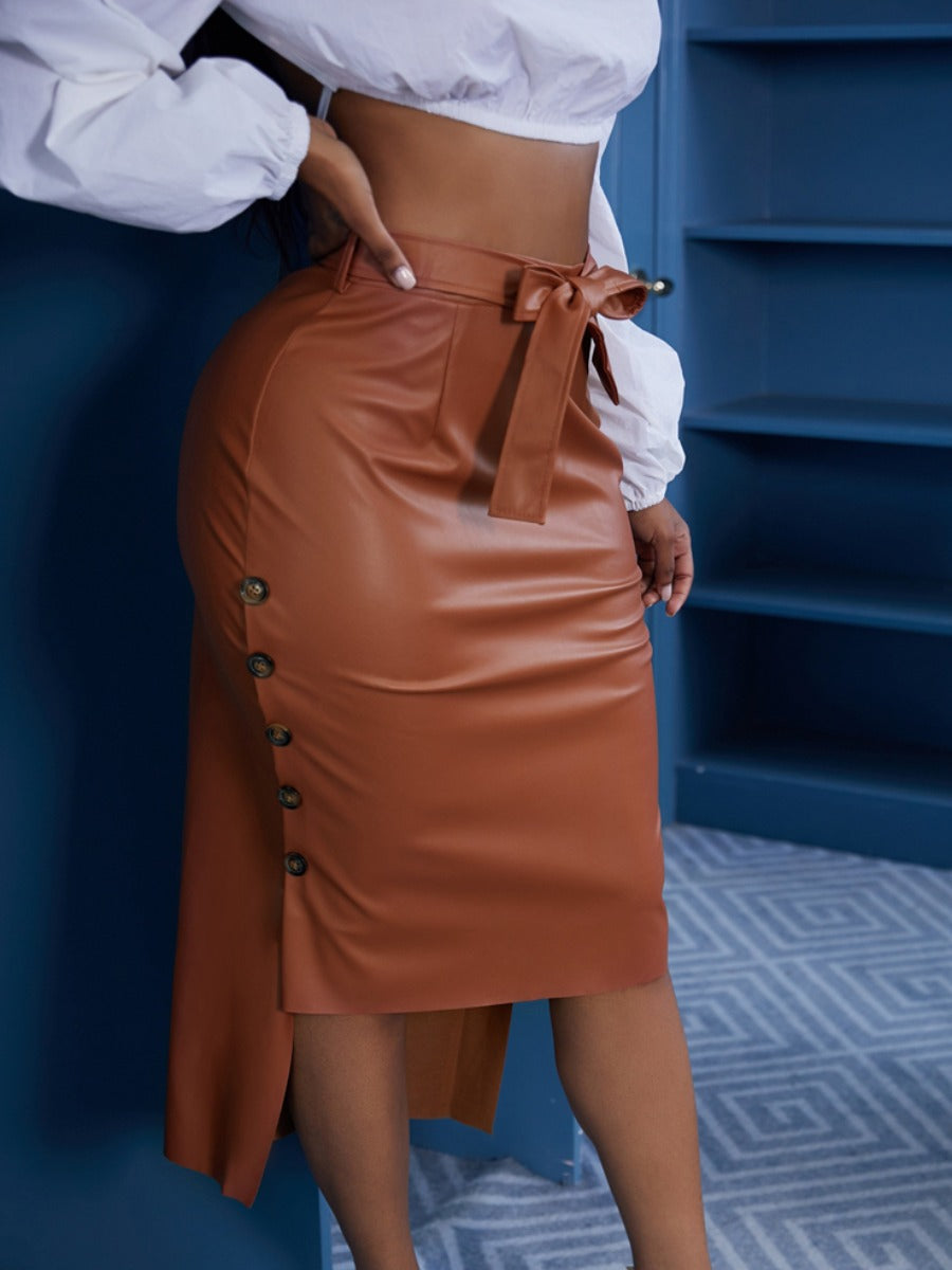 Sleek Button Side Midi Skirt