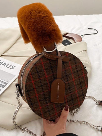 Tartan Fur Handle Handbag