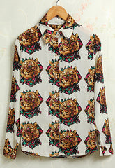 Retro Tiger Print Blouse