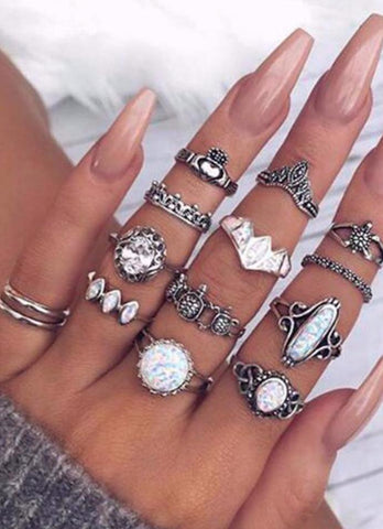 Crown Charm Ring Set