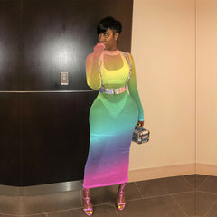Rainbow Netted Dress