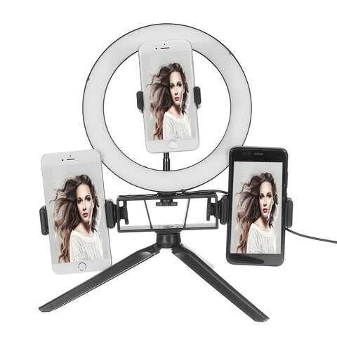 3 Phone Hold Vanity Ring Light & Stand