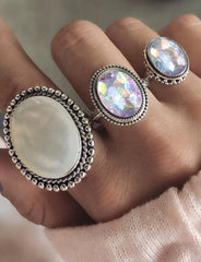 Trio Gem Stones Ring Set