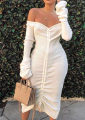 Knit Crease Off Shoulder Dress