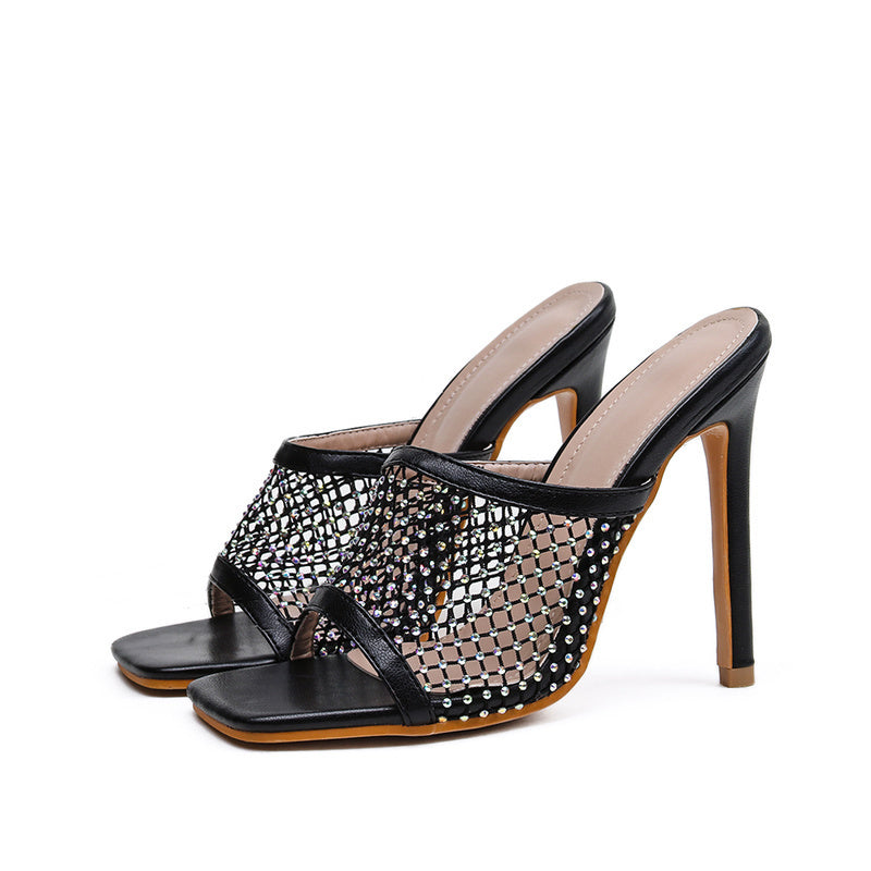 Diva Netted Square Heels