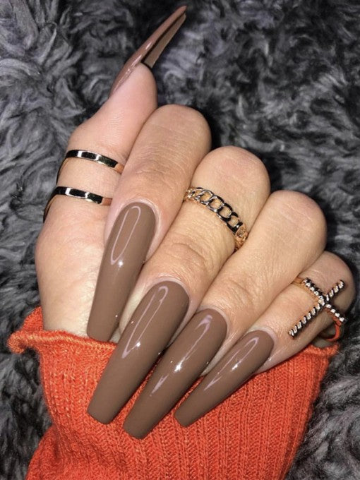 Chocolate Brown Press on Nails