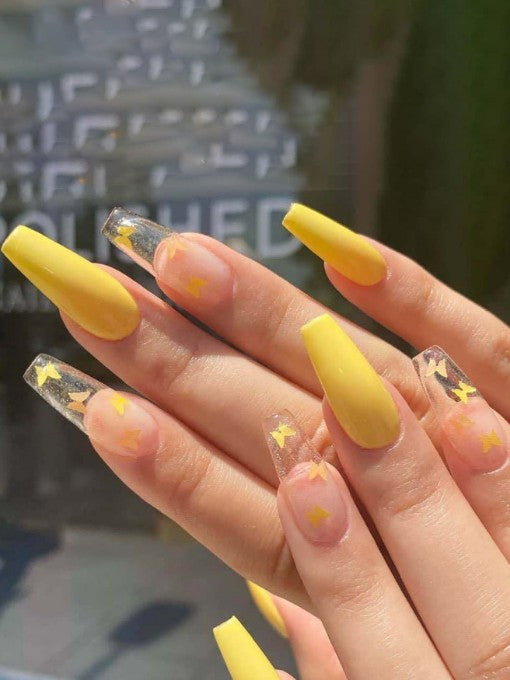 Matte Yellow Butterfly Press on Nails