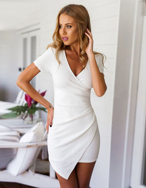 Asymmetric Hem Mini Dress