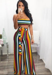 Candy Stripe Wide Pants Set