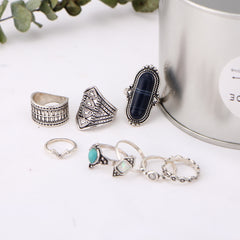 Boho Gem Knuckle Ring Set