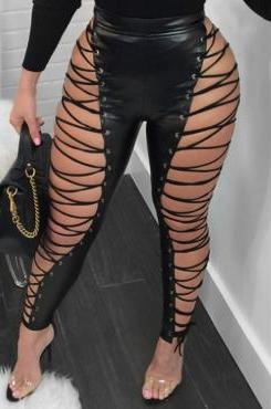 Sizzling Side Lace Up Leather Look Pants