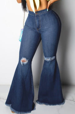 Denim Diva Ripped Flare Pants