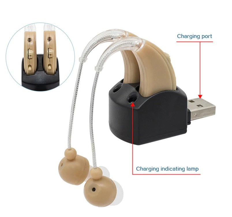 2 Hearing Aid For Hearing Impaired Hearing Aids In The Ear For The Elderly Deaf Rechargeable/Batteries Hearing Amplifier Earhook