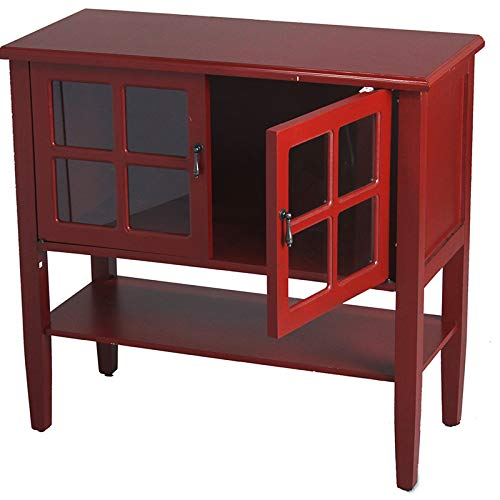 Red Wood Clear Glass Console Cabinet with a Shelf, 2 Doors and Paned Inserts