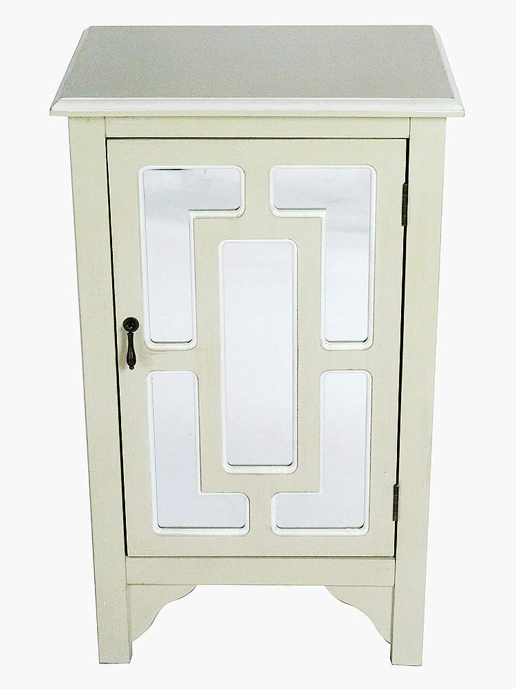 "30"" Beige Wood Mirrored Glass Accent Cabinet with a Door and Mirror Inserts"