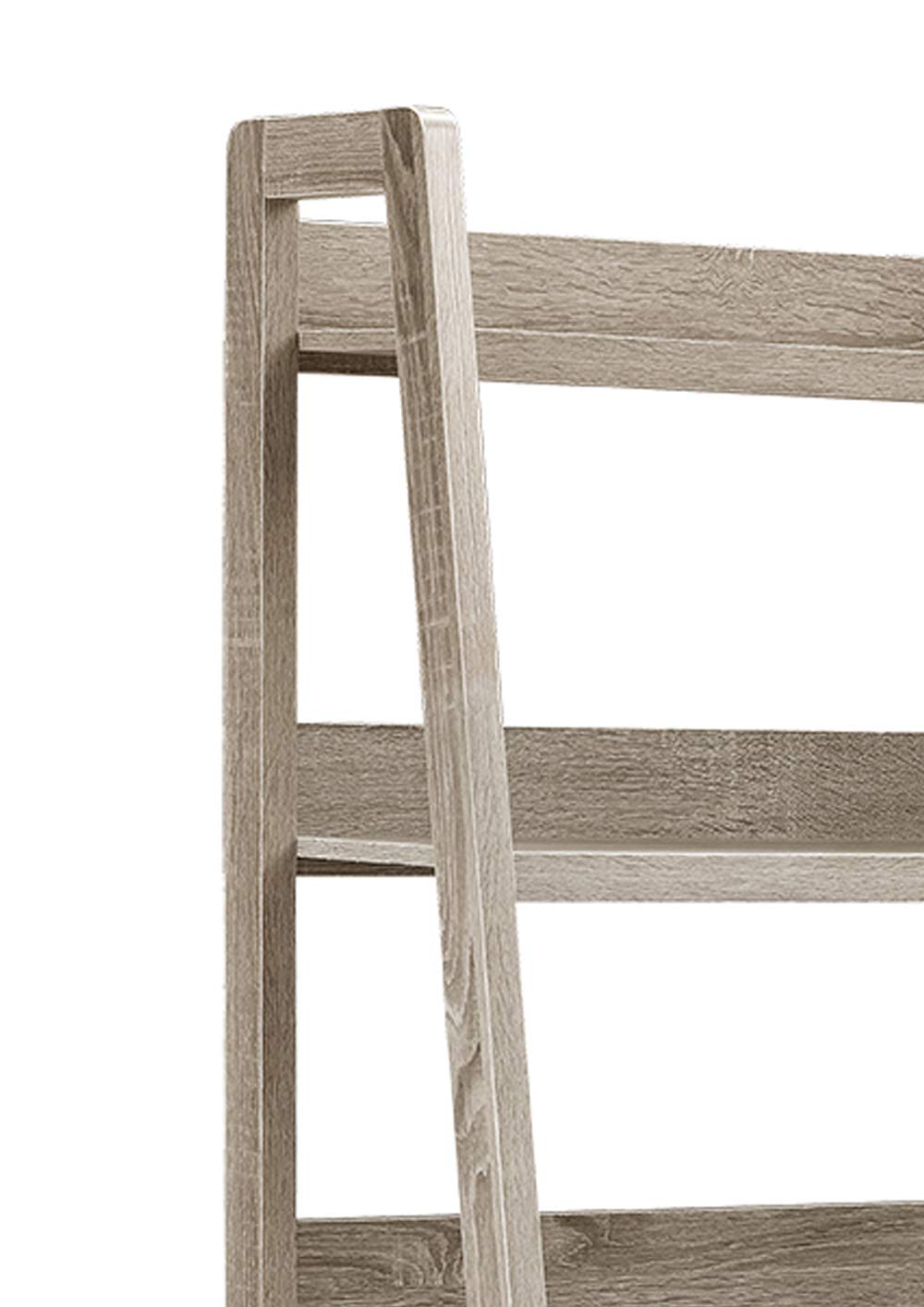 Transitional Style Wooden Ladder Bookcase with Five Shelves, Gray
