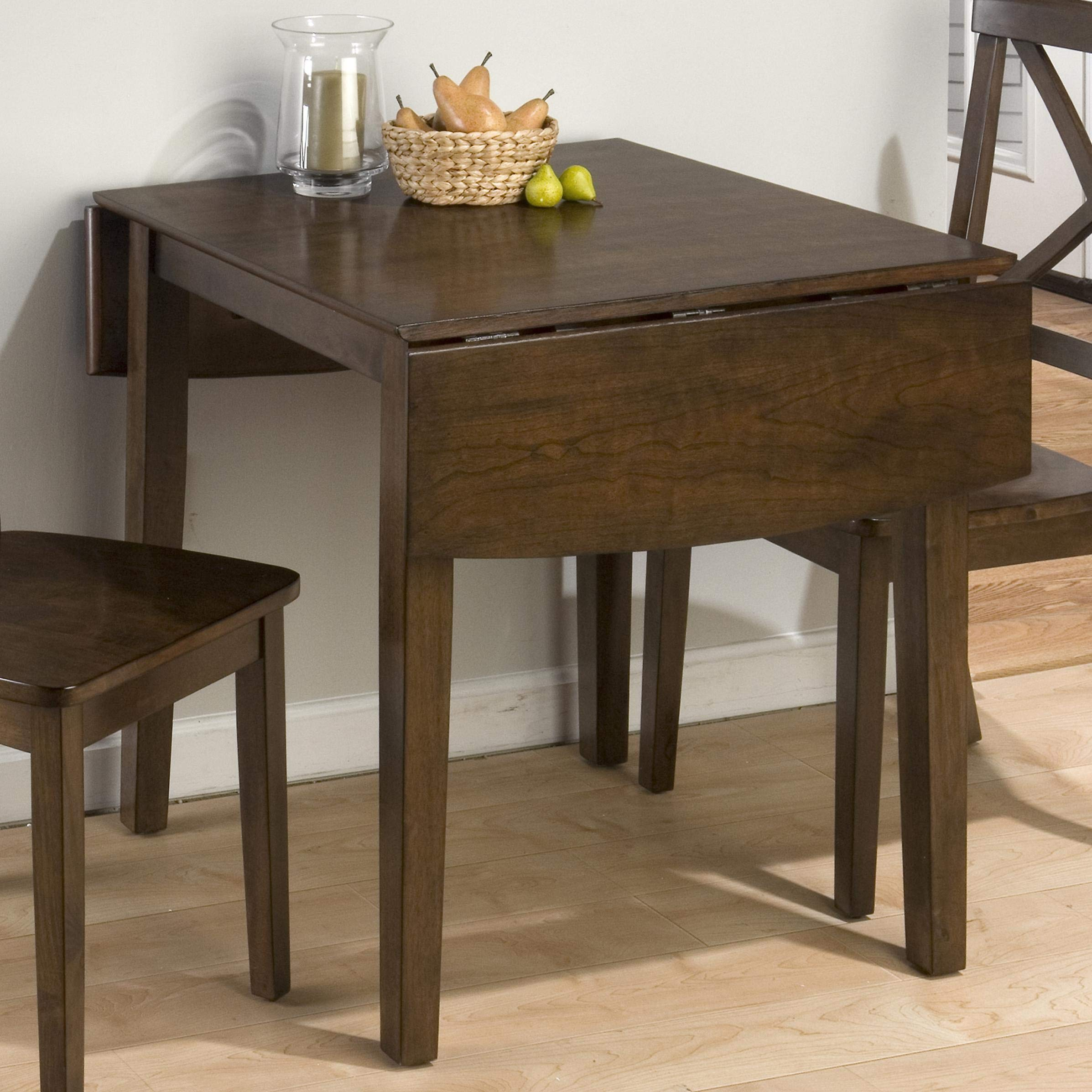 Wooden Dining Table With Drop Down Leaf, Cherry Brown