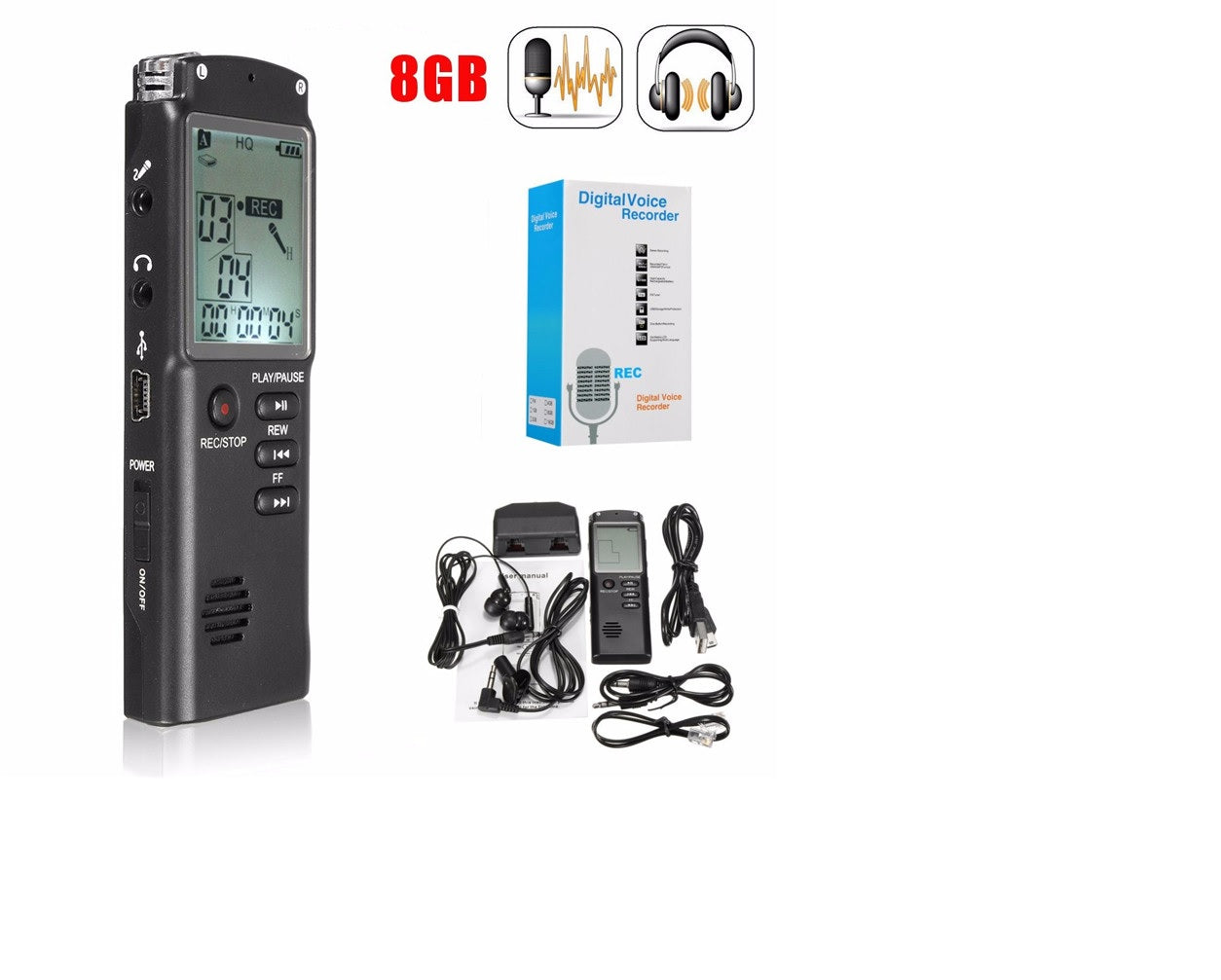Voice Recorder 8GB dictaphone with MP3 Play - records 60 hours