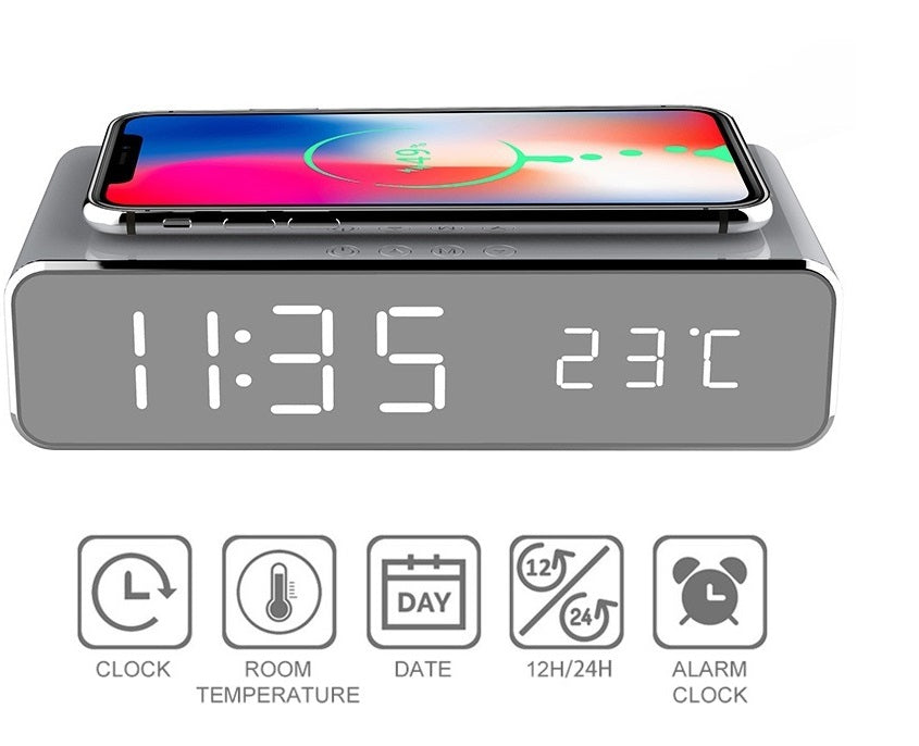 USB Digital LED Desk Alarm Clock With Thermometer Wireless Charger For Samsung Android
