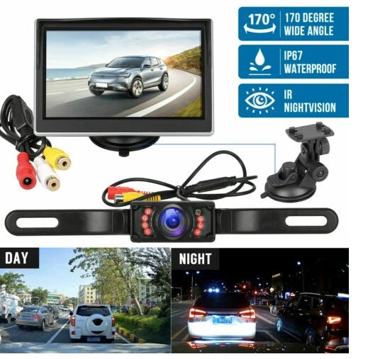 Reverse Backup Camera and Monitor Kit - 5 inch monitor  -170 Degree Car Wireless LCD Auto DVD Player Night Vision Waterproof