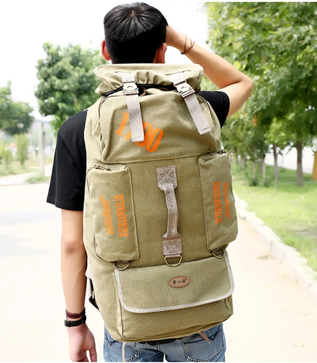 Canvas Backpack  80L Mountaineering Travel Rucksack Trekking Bag Camping Hiking Hunting Fishing duffle bag
