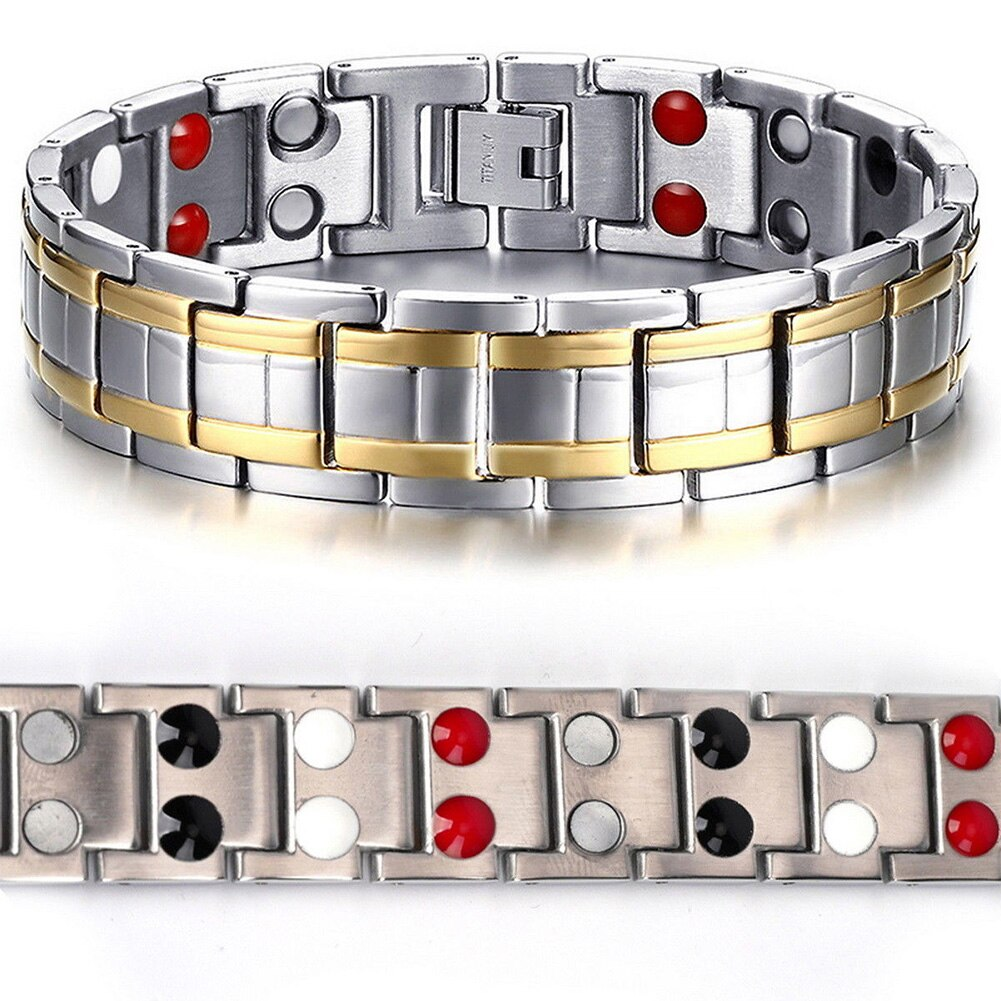 Pain Relief Safety Clasp Arthritis Magnetic Carpal Tunnel Safe Gift Men Bracelet Stainless Steel Fashion