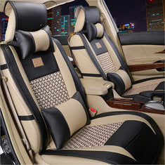 10 PC LUXURY Leather Car Seat Cover Protector with Pillow Waist Cushion Set for 5 Seat Cars SUV