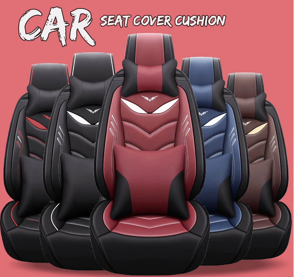 13 PC Universal Leather Car Seat Cover Protector with Pillow Waist Cushion Set for 5 Seat Cars SUV