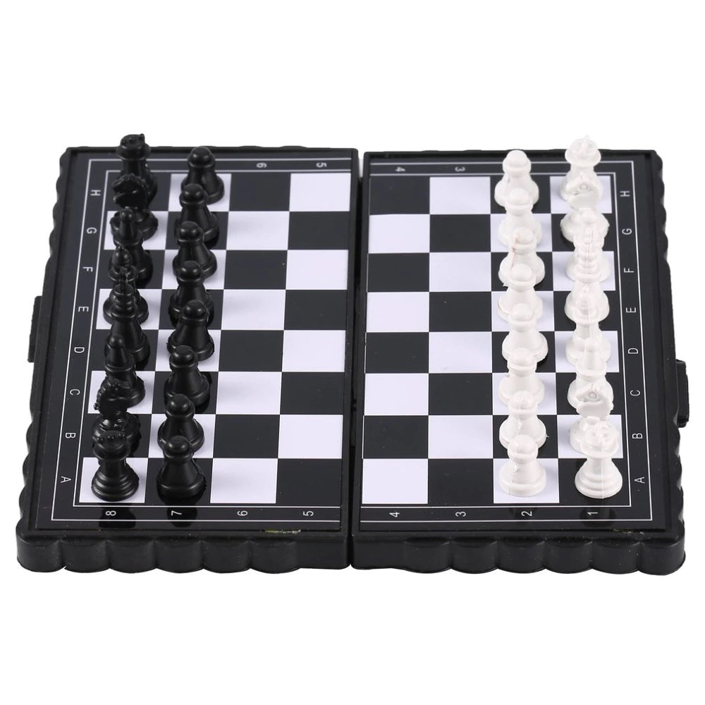 1 set Mini Chess Folding Magnetic Plastic Chessboard Board Game