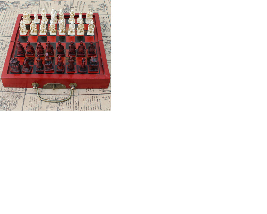 CHINESE CARVED CHESS SET with carved chinese figurines Board and travel case