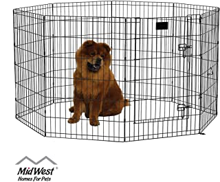 Dog  Kennel Dog crate Animal Pet Playpen  kennel Metal Black Wire Fence Dog Exercise Yard  8 panel - portable foldable