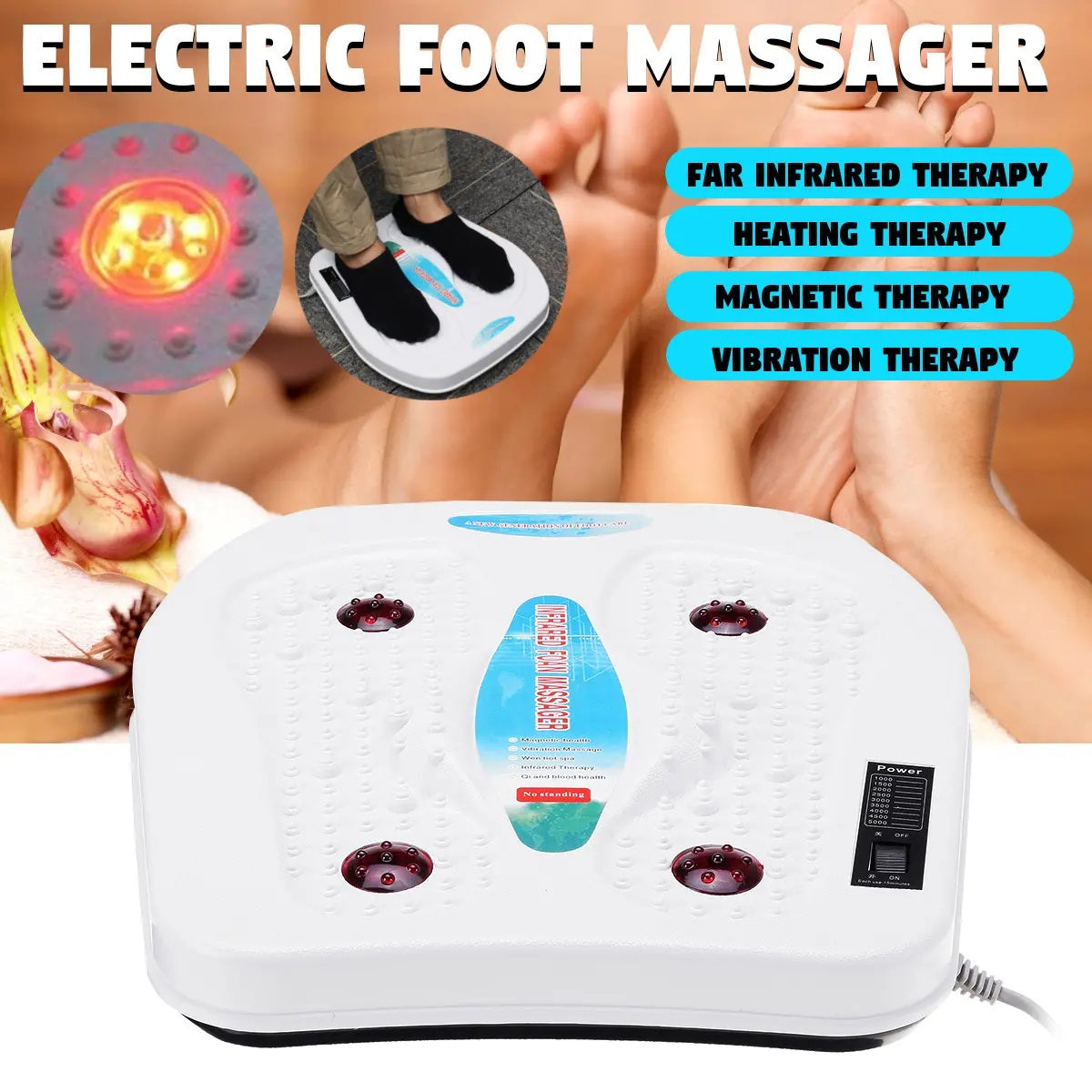 Electric Foot Massager Vibration Magnetic Heating  Infra-red Therapy Health Machine - Relieves foot pain