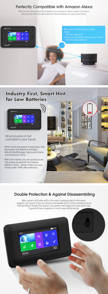 Smart Home Security Alarm System -  Alexa Version DIGOO DG-HAMA All Touch Screen 433MHz 2G&GSM&WIFI DIY