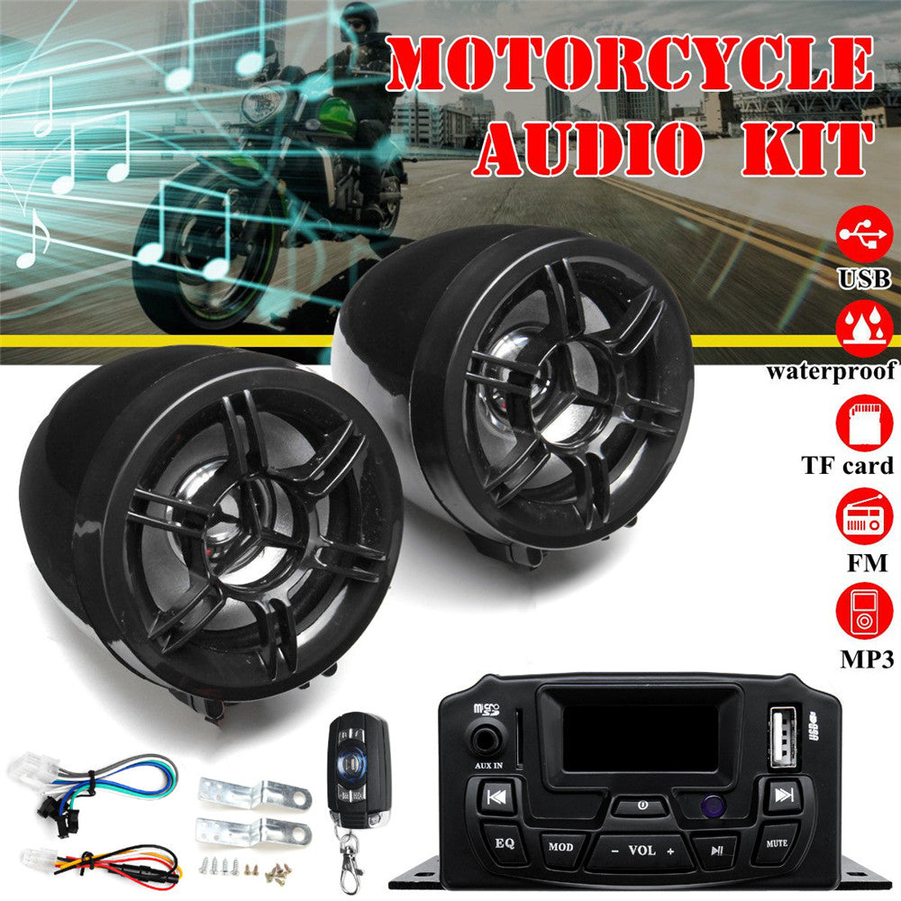 Motorcycle Audio Sound System -  Remote Control Speaker Suit  - 12 V FM SD USB MP3