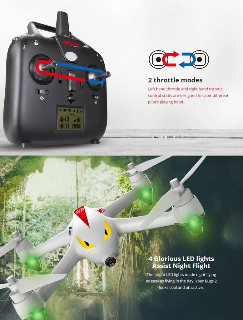 MJX B2C Bugs 2C Brushless With 1080P HD Camera GPS Altitude Hold RC Drone Quadcopter RTF - White Standard Version