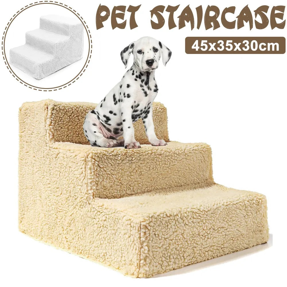 3 Steps Dog Cat Pet Puppy Plastic Stairs Soft Stairs Steps Ramp & Washable Stairs Decorations - Yellow