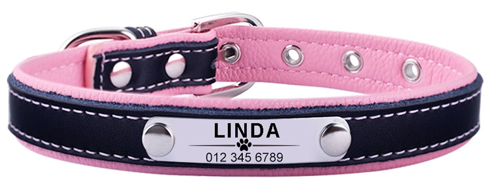 Personalized Leather Dog Collar custom engraved with pets name
