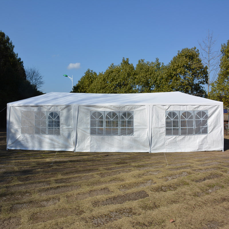 10'x30' White Event Tent Party Canopy Wedding Tent Outdoor Gazebo Pop Up Pavilion Upgrade 8 Walls Spiral Tube Canopy - US StockParty Tent