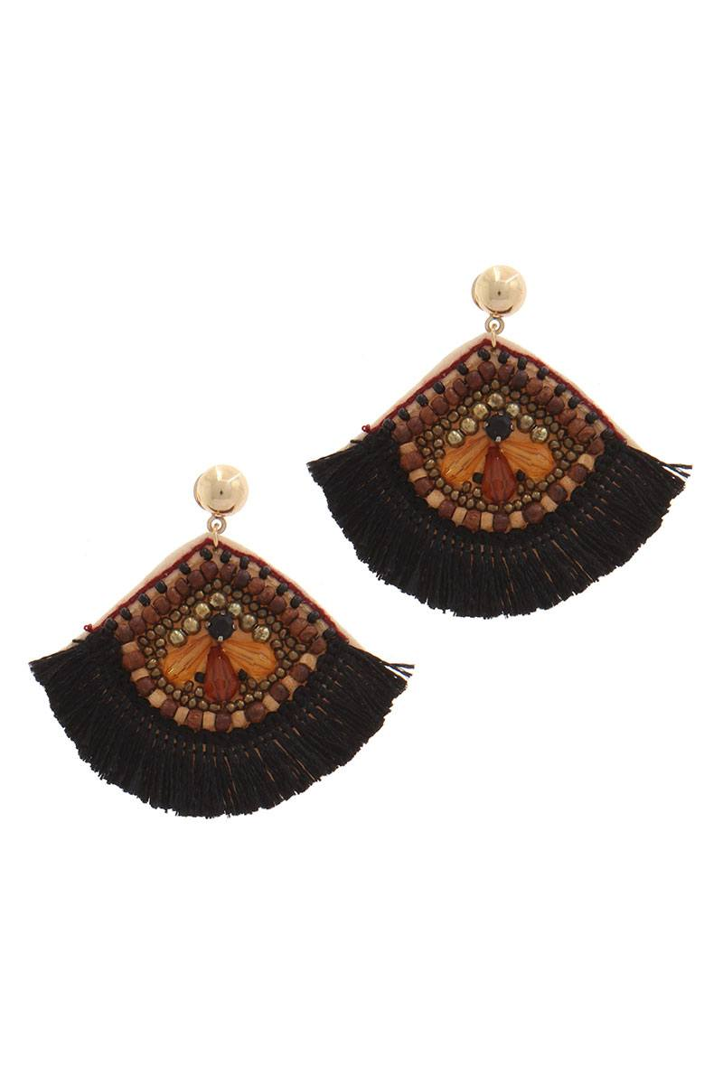 Fan shape post drop earring