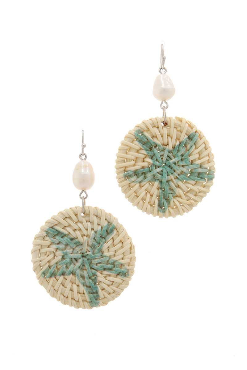 Starfish Print Circle Drop Earring