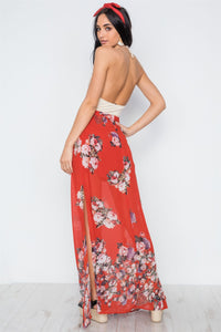Red Multi Floral Print Side Slits High-waist Maxi Skirt