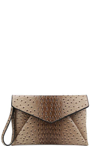 Designer Croc Texture Envelope Clutch With Chain