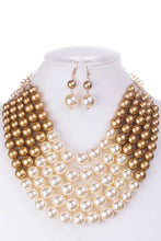 Load image into Gallery viewer, Color Block Pearl Chunky Necklace And Earring Set