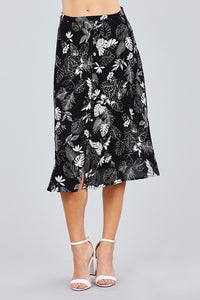 Tulip Sleeve Off The Shoulder Button Down Crop Top And Button Down Midi Skirt Set