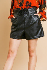 Vegan Leather High Waist Shorts With Pockets And Lace Up Waist